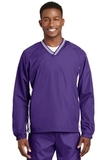 Tipped V-neck Raglan Wind Shirt Purple with White Thumbnail