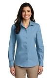Women's Long Sleeve Carefree Poplin Shirt Carolina Blue Thumbnail