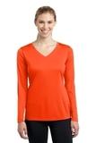 Women's Long Sleeve V-neck Competitor Tee Neon Orange Thumbnail