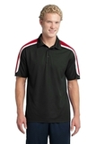 Micropique Shoulder Block Polo Black with True Red and White Thumbnail
