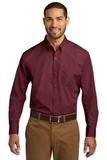 Port Authority Long Sleeve Carefree Poplin Shirt Burgundy Thumbnail