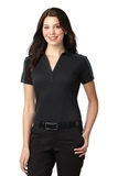 Women's Port Authority Silk Touch Performance Colorblock Stripe Polo Black with Steel Grey Thumbnail
