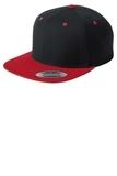 Flat Bill Snapback Cap Black with True Red Thumbnail