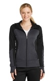 Women's Tech Fleece Colorblock FullZip Hooded Jacket Black with Graphite Heather and Black Thumbnail
