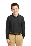 Youth Silk Touch Long Sleeve Sport Shirt Black Thumbnail