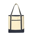 Large Cotton Canvas Boat Tote Natural with Navy Thumbnail