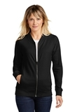 Ladies Lightweight French Terry Bomber Black Thumbnail