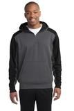 Sport-tek Colorblock Tech Fleece 1/4-zip Hooded Sweatshirt Graphite Heather with Black Thumbnail