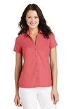 Women's Textured Camp Shirt Deep Coral Thumbnail