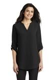 Women's 3/4-Sleeve Tunic Blouse Black Thumbnail