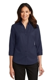 Women's 3/4Sleeve SuperPro Twill Shirt True Navy Thumbnail