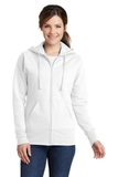 Women's Classic Full-Zip Hooded Sweatshirt White Thumbnail