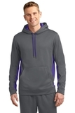 Sport-wick Fleece Colorblock Hooded Pullover Dark Smoke Grey with Purple Thumbnail