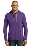 100 Ring Spun Cotton Long Sleeve Hooded T-shirt Heather Purple with Neon Yellow Thumbnail