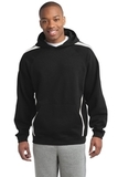 Sleeve Stripe Pullover Hooded Sweatshirt Black with White Thumbnail