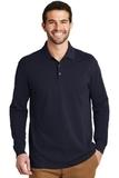 EZ-Cotton Long Sleeve Polo Navy Thumbnail