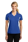Women's Side Blocked Micropique Polo Shirt True Royal with White Thumbnail