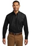 Port Authority Long Sleeve Carefree Poplin Shirt Deep Black Thumbnail