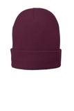 Fleece-Lined Knit Cap Maroon Thumbnail