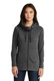 Women's New Era TriBlend Fleece FullZip Hoodie Black Heather Thumbnail