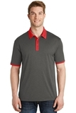 Heather Contender Contrast Polo Graphite Heather with True Red Thumbnail