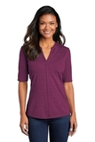 Women's Stretch Heather Open Neck Top Violet Purple with Black Thumbnail