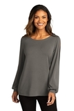 Port Authority Ladies Luxe Knit Jewel Neck Top Sterling Grey Thumbnail