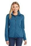 Women's Sweater Fleece Jacket Medium Blue Heather Thumbnail