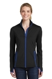 Women's Sport-Wick Stretch Contrast Full-Zip Jacket Black with True Royal Thumbnail