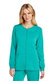 WonderWink Women's Premiere Flex Full-Zip Scrub Jacket Teal Blue Thumbnail