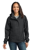 Women's Eddie Bauer Rain Jacket Black with Steel Grey Thumbnail