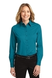 Women's Long Sleeve Easy Care Shirt Teal Green Thumbnail