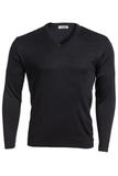 Men's 100 Acrylic Interlock V-neck Sweater Navy Thumbnail