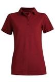 Women's Short Sleeve Blended Pique Polo Burgundy Thumbnail