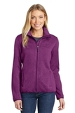 Women's Sweater Fleece Jacket Pink Heather Thumbnail
