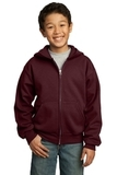 Youth Full-zip Hooded Sweatshirt Maroon Thumbnail