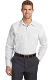 Long Size Long Sleeve Striped Industrial Work Shirt Grey with White Thumbnail