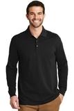 EZ-Cotton Long Sleeve Polo Black Thumbnail