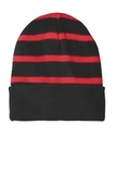 Striped Beanie with Solid Band Black with True Red Thumbnail