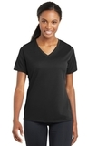 Women's Racermesh V-neck Tee Black Thumbnail