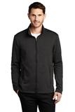 Collective Striated Fleece Jacket Deep Black Heather Thumbnail
