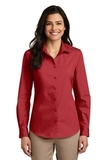Women's Long Sleeve Carefree Poplin Shirt Rich Red Thumbnail