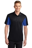 Side Blocked Performance Micropique Polo Shirt Black with True Royal Thumbnail