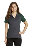 Women's Colorblock Micropique Sport-Wick Polo Iron Grey with Forest Green Thumbnail