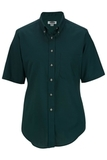 Women's Button Down Poplin Shirt SS Teal Thumbnail