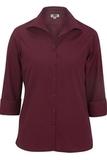 Women's Easy Care Poplin Shirt 3/4 Sleeve Burgundy Thumbnail