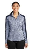 Women's Electric Heather Colorblock 1/4-Zip Pullover True Navy Electric with True Navy Thumbnail
