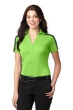 Women's Port Authority Silk Touch Performance Colorblock Stripe Polo Lime with Steel Grey Thumbnail
