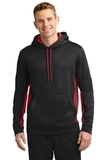 Sport-wick Fleece Colorblock Hooded Pullover Black with Deep Red Thumbnail