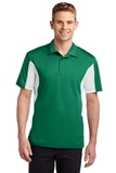 Side Blocked Performance Micropique Polo Shirt Kelly Green with White Thumbnail